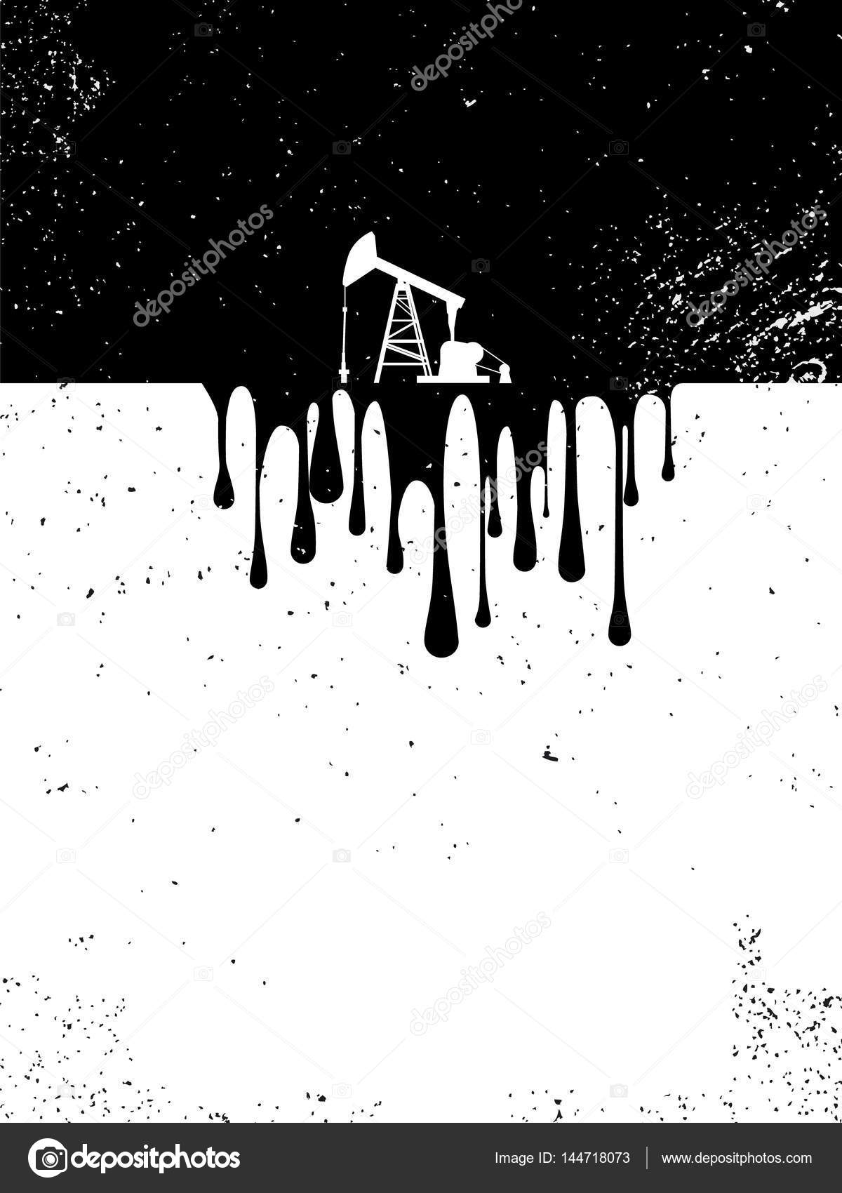 Oil Drilling Pump With Drops Of Oil As A Symbol Of Environment And