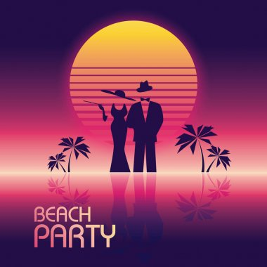 Summer beach party vector banner or flyer template. 80s retro neon glow style. Elegant, stylish man in suit, woman in dress.