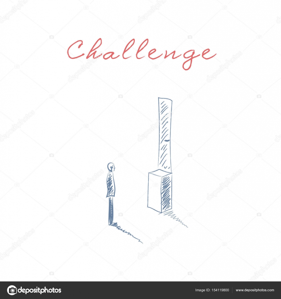 Business Challenge Vector Concept With Man Standing In Front Of Door