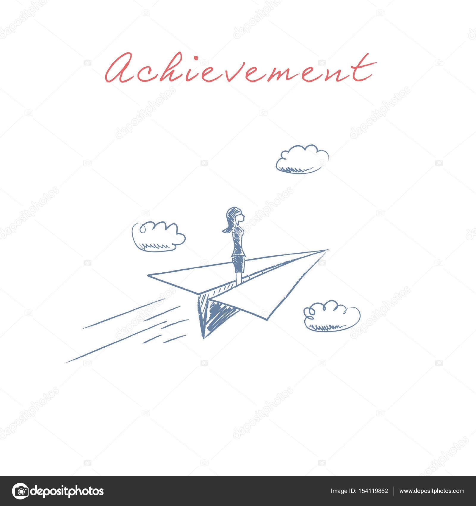 Geschäftsfrau auf Papier Flugzeug Vektor fliegen. Symbol der ...