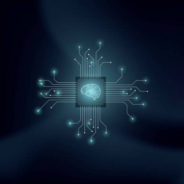 Artificial intelligence or AI vector concept with human brain on technological background. Symbol of machine learning, neural networks, programming, futuristic technology concept.