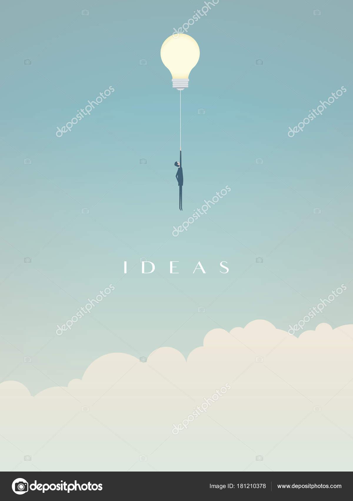 Businessman Flying On A Lightbulb Ballon Vector Symbol Of