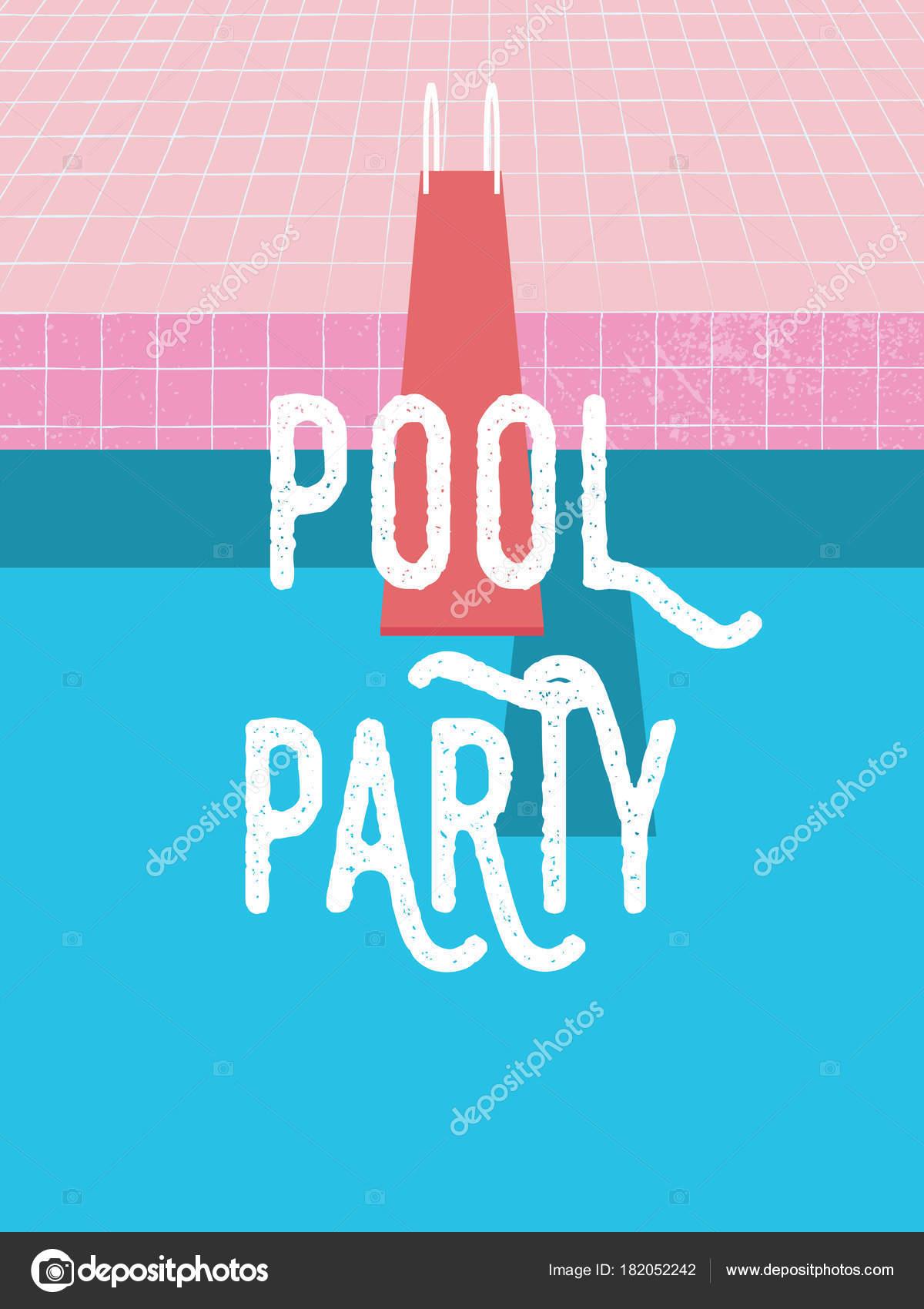 Sommer Pool Party Einladung Poster, Flyer Vektor Vorlage mit Vintage ...