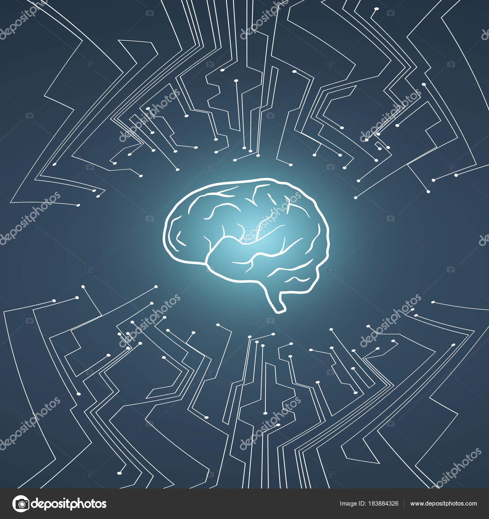 Artificial Intelligence Vector Conept With Brain Illustration On Circuit Board Background Ai Free Graphics Download Pcb Symbol Of Future Technology Programming Neural Network