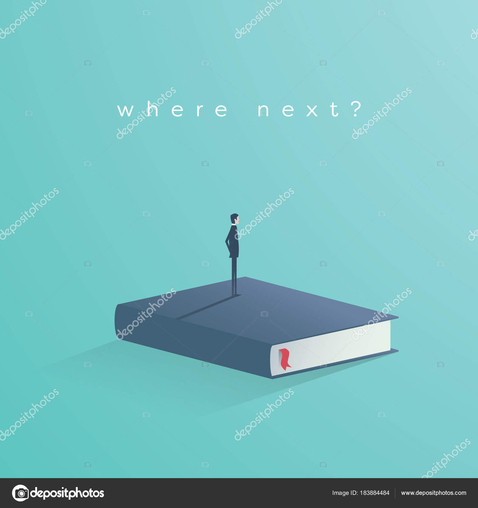 Education vector concept businessman or student standing on book businessman or student standing on book looking at future symbol of biocorpaavc Choice Image
