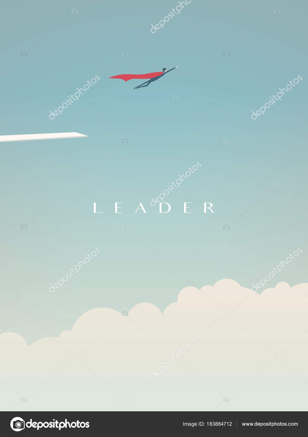 Geschäftsmann Fliegt Hoch In Den Himmel Als Superheld Vektor Konzept