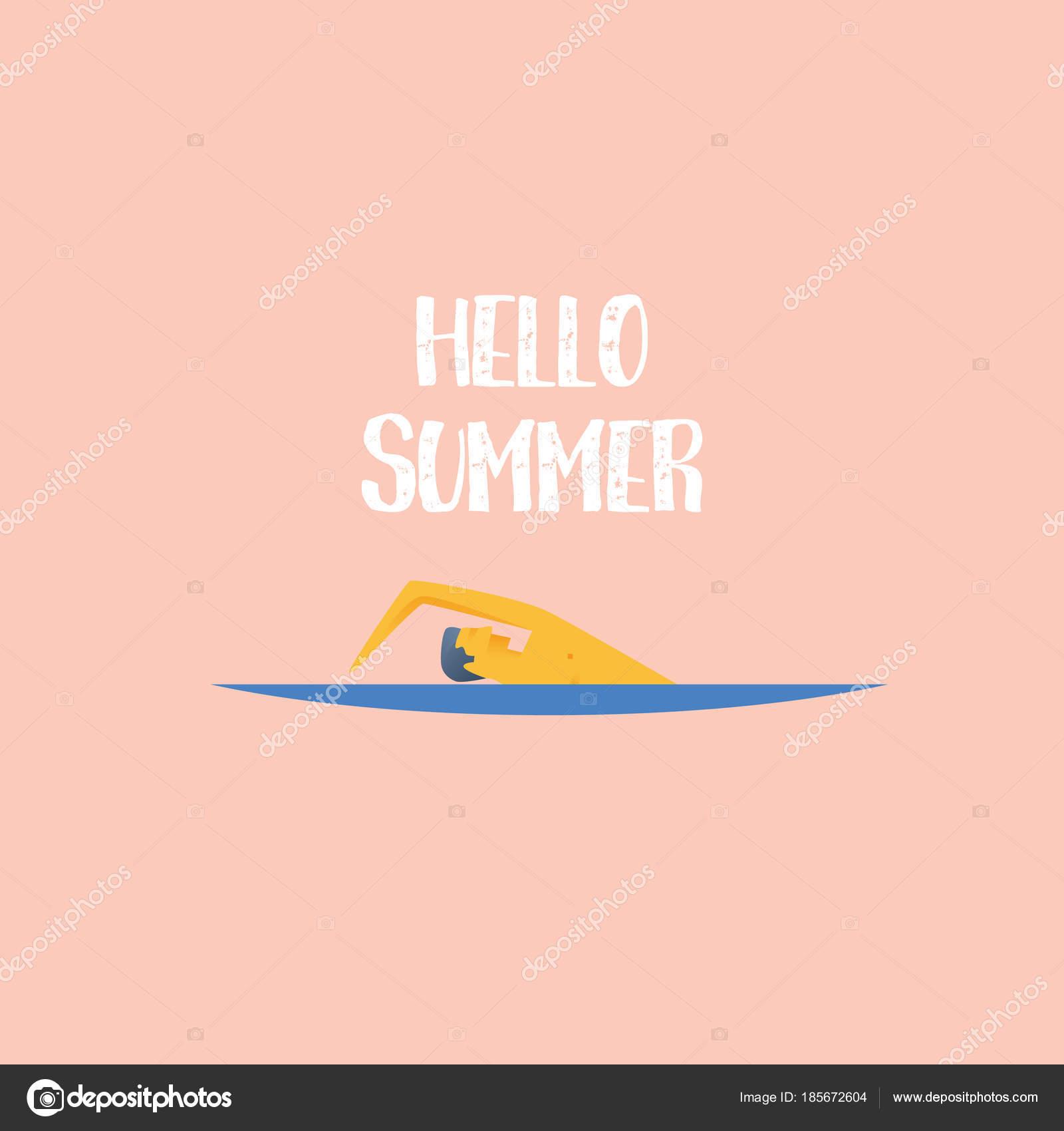 Sommer Plakat Vektor Vorlage mit Schwimmer und typografische ...