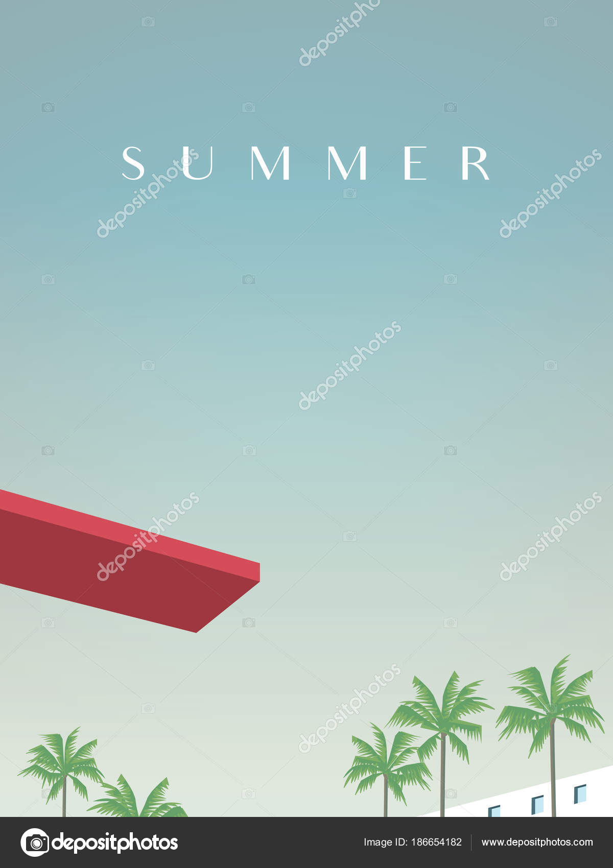 Summer retro vintage poster vector template with jumping ...