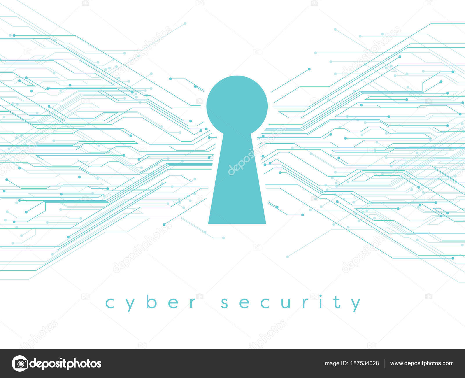Data, online, cyber security vector illustration with keyhole and ...