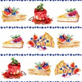 Fotografie Seamless pattern with watercolor pastries and sweets.