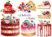 Big set with pastries. Watercolor painting.