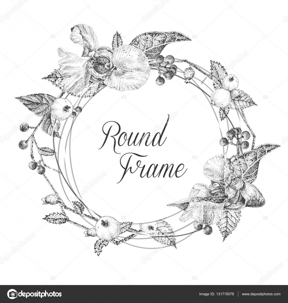 Floral Frame For Greeting Cards Or Invitations Black And White
