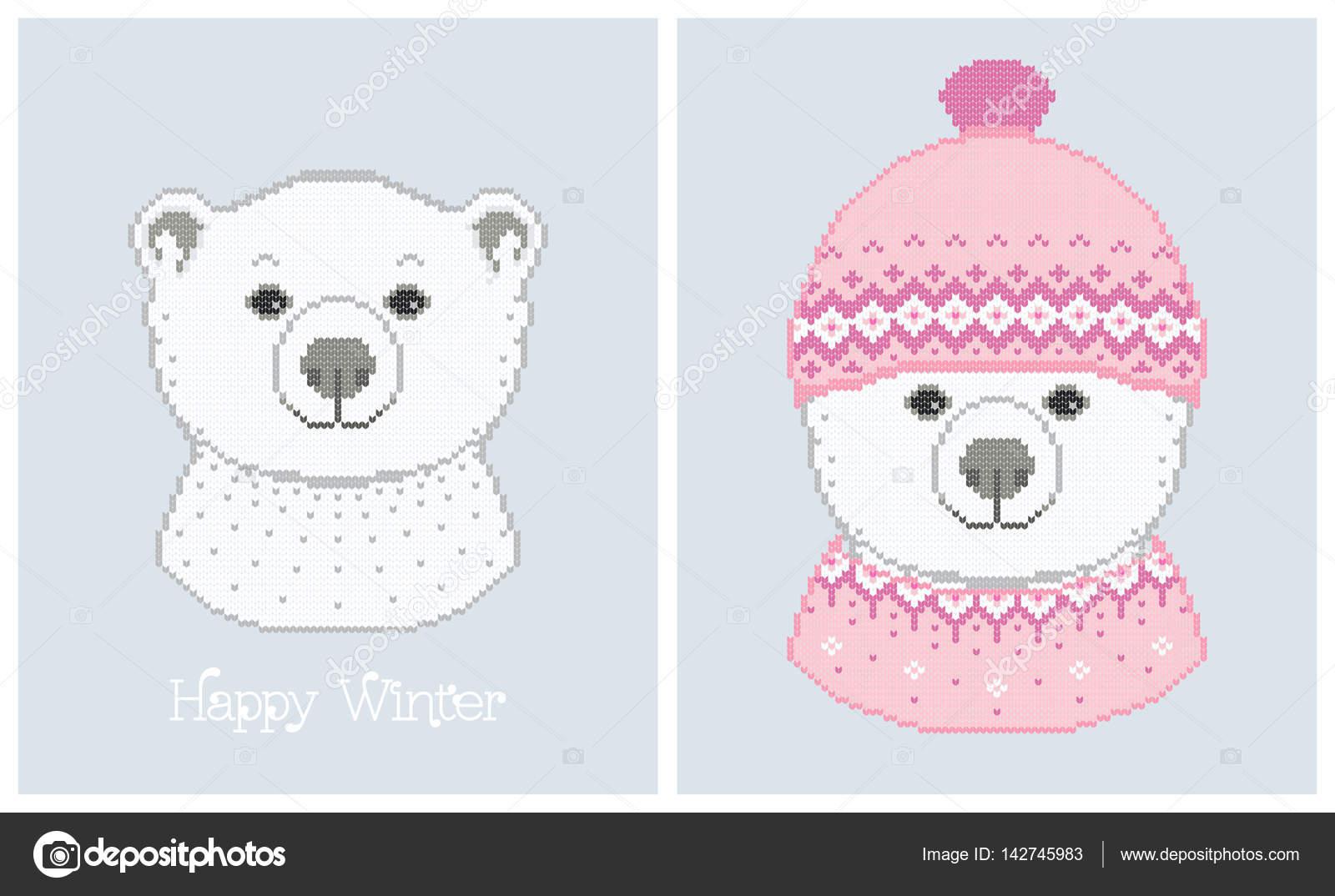Ilustraciones vectoriales de oso polar en un sombrero hecho punto ...