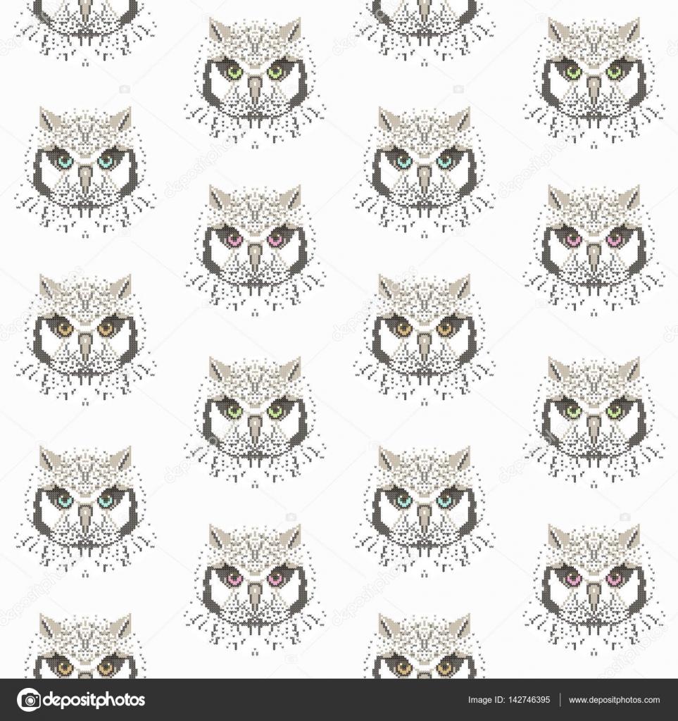 patrones sin fisuras con búhos — Vector de stock © inna73 #142746395
