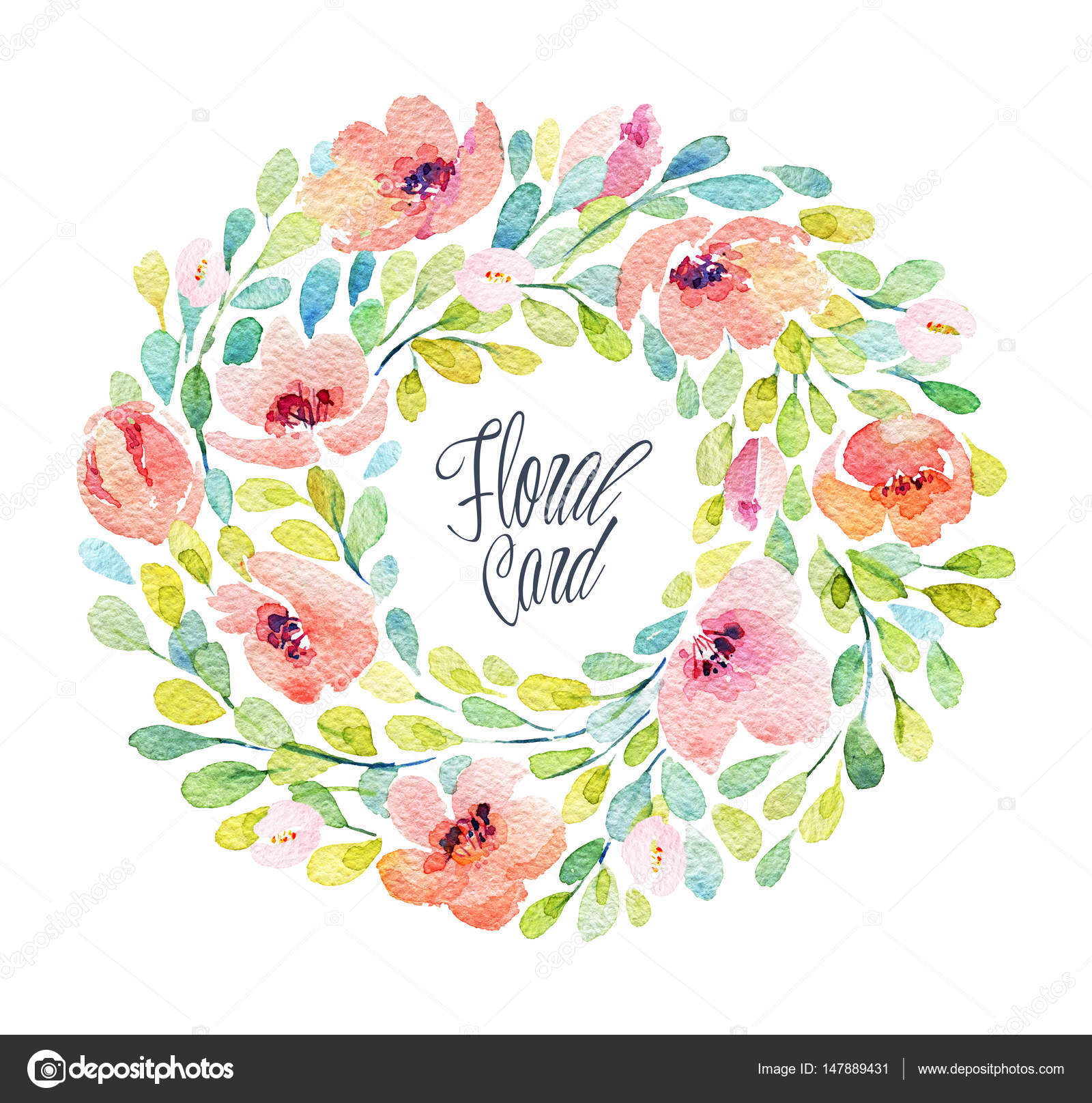 Watercolor Frame With Lovely Pink Flowers Stock Photo Inna73