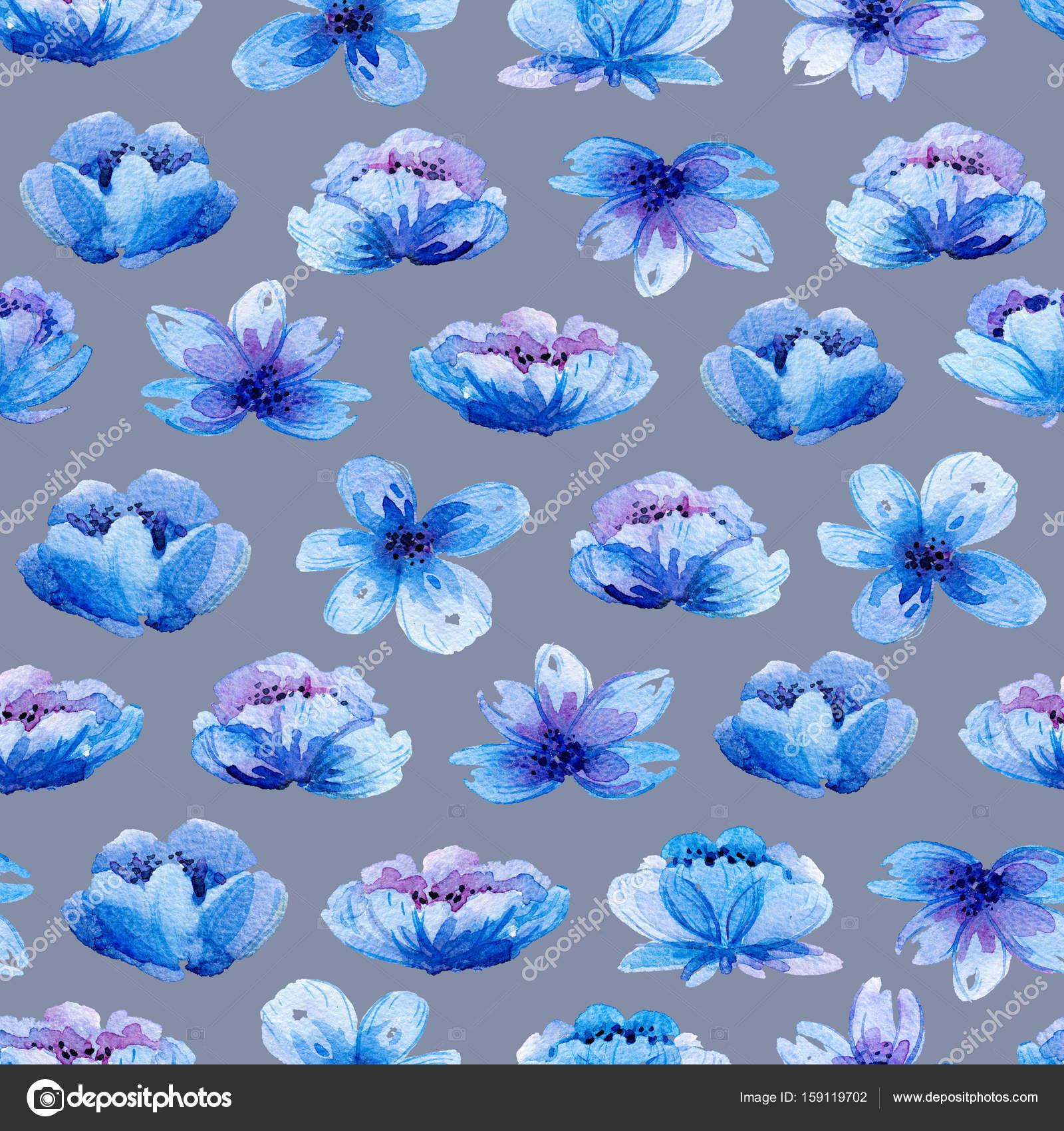Patrón sin fisuras con acuarela hojas y flores de color azul — Fotos ...