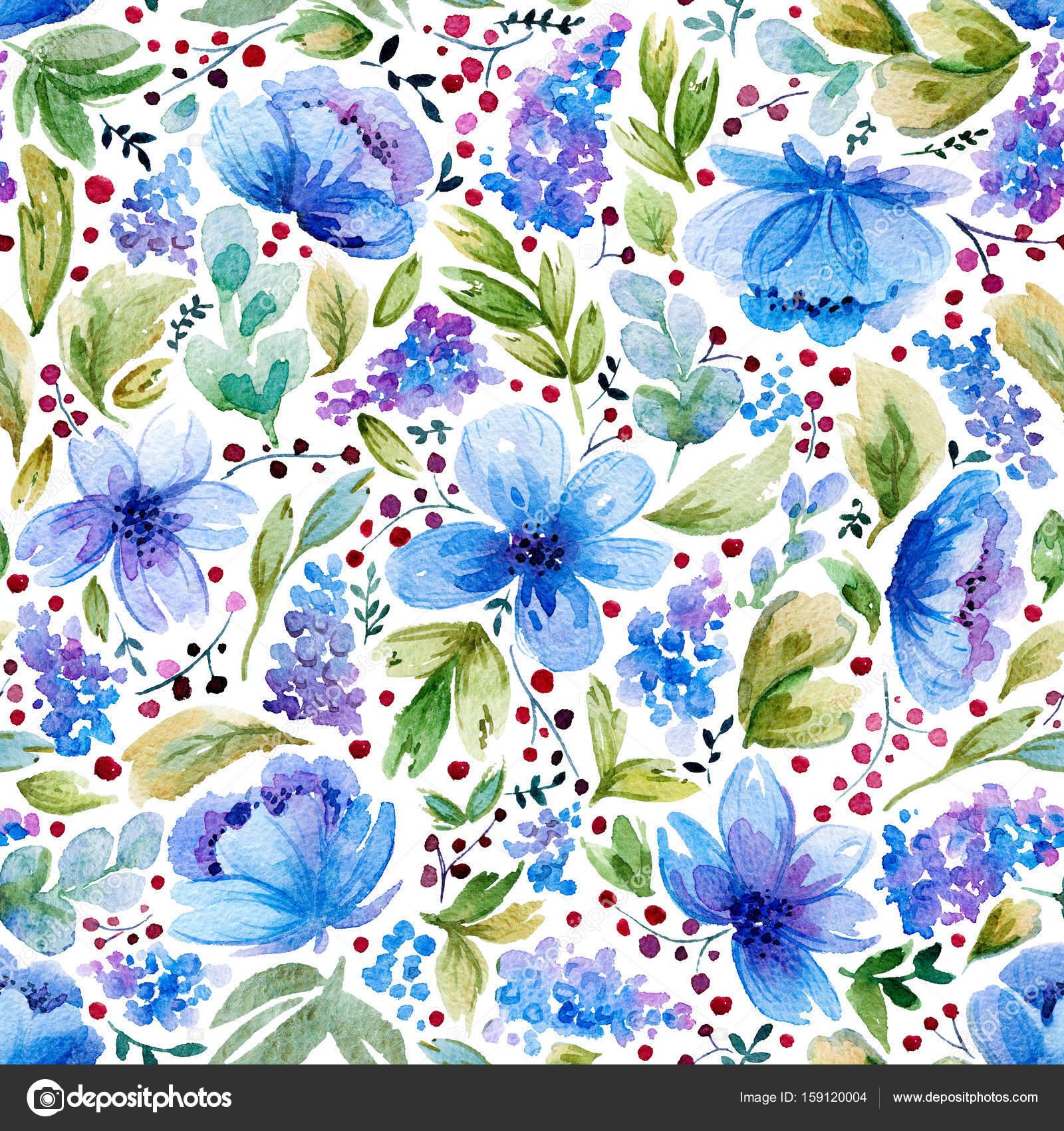 Patrón sin fisuras con acuarela hojas y flores de color azul — Foto ...