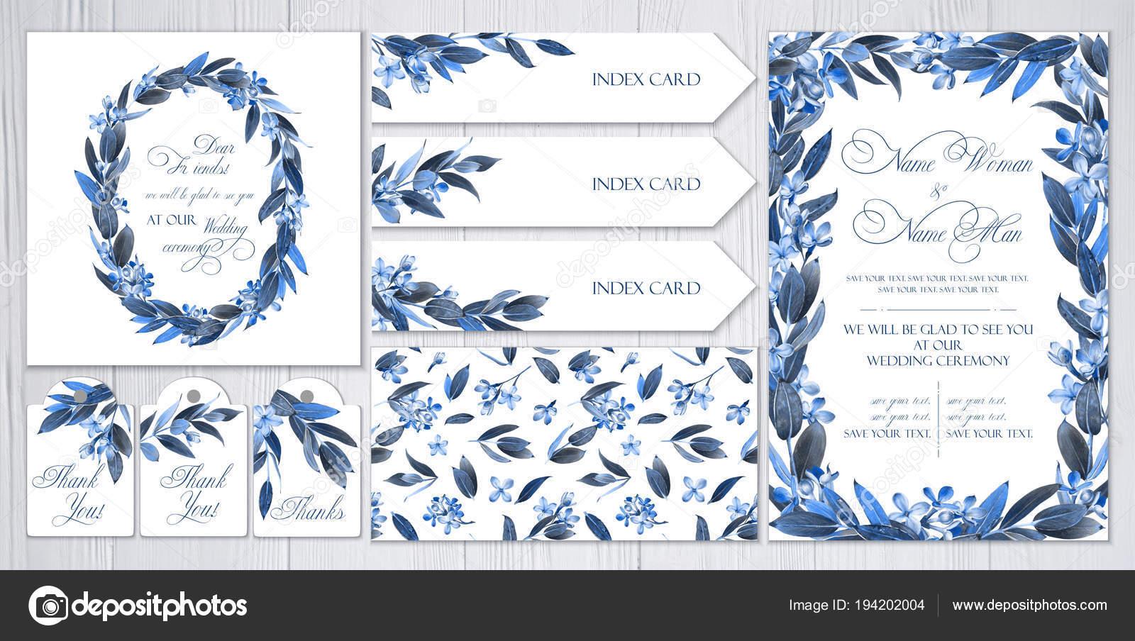 Conjunto Plantillas Saludos Invitaciones Para Boda Azul Lila Ramitas ...