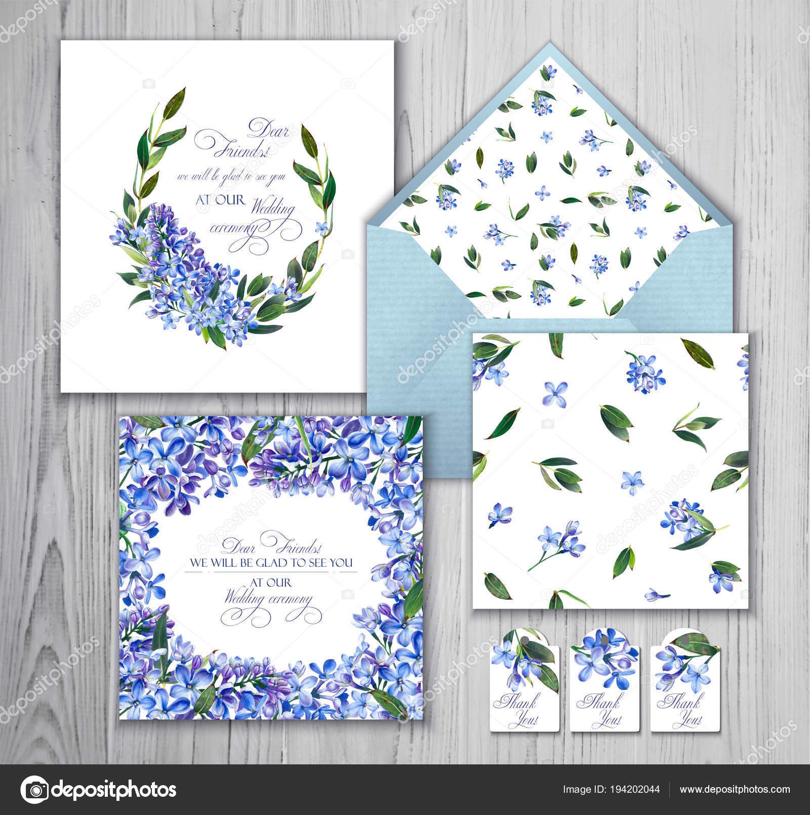 Invitaciones Para Boda Azul Conjunto Plantillas Saludos