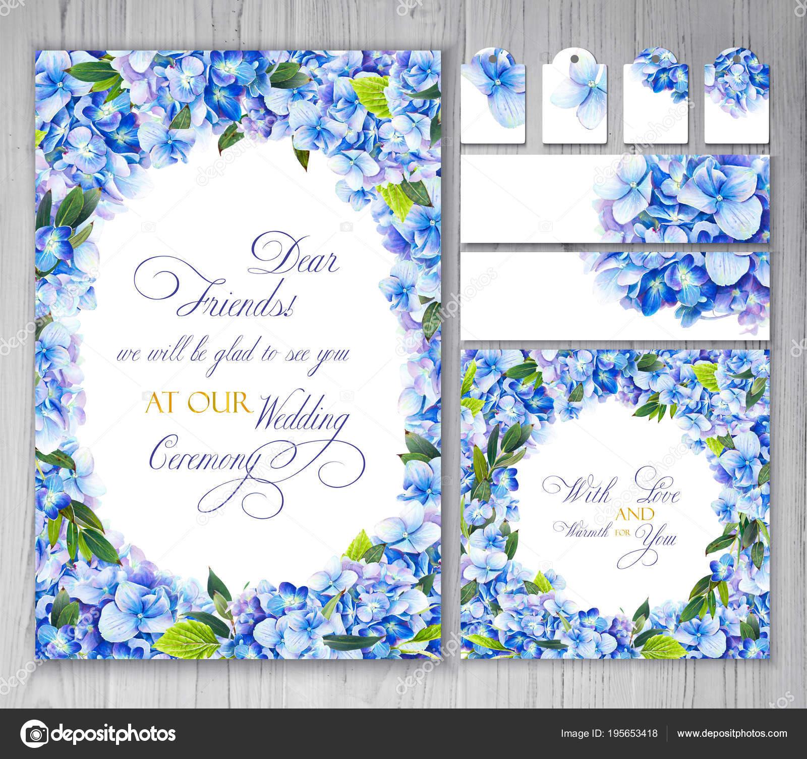 set templates greetings invitations wedding blue flowers hydrangea