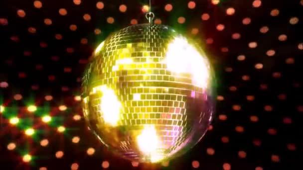 Lenyűgöző színes csillogó mennyezet party klub funky disco labda villogó fényes lámpa forgó hurok animáció