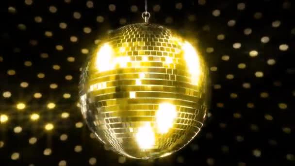 Nádherné barevné jiskřící strop party klub funky disco koule bliká jasné světlo lampy rotující ve smyčce animace