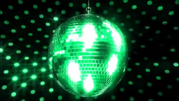 Picturesque colorful sparkling ceiling party club funky disco ball flashing bright light lamp rotating in loop animation