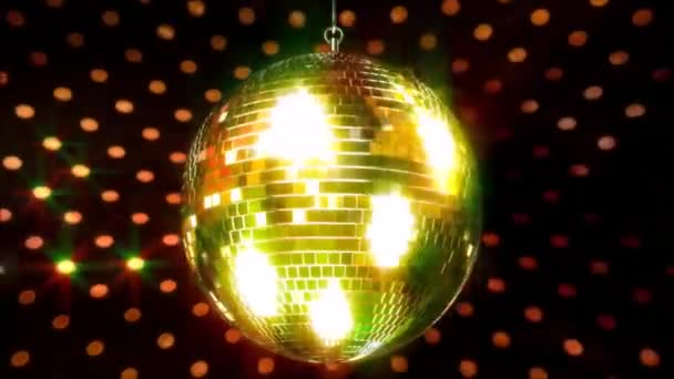 Incredible colorful sparkling ceiling party club funky disco ball flashing bright light lamp rotating in loop animation