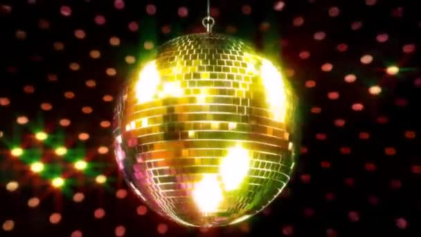 Wonderful colorful sparkling ceiling party club funky disco ball flashing bright light lamp rotating in loop animation