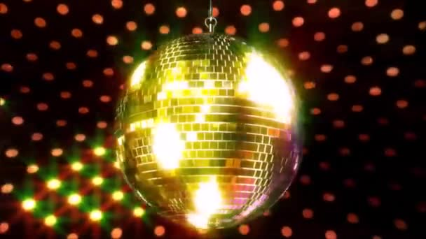 Stunning colorful sparkling ceiling party club funky disco ball flashing bright light lamp rotating in loop animation