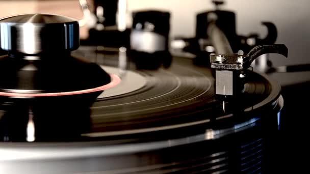 Csodálatos részletes közelkép hurok felvétel vintage retro vinyl album fekete régi lemezjátszó gramofon lemezjátszó