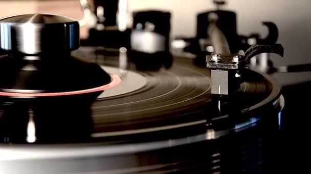 Neuvěřitelné detailní zblízka smyčka záběr vintage retro vinyl album černá starý gramofon gramofon gramofon gramofon gramofon na gramofon