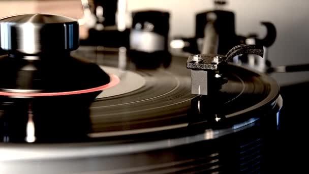 Vintage retro vinyl album fekete régi lemezjátszó lemez gramofon lemezjátszó csodálatos részletes közeli loop nézet