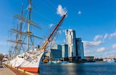 Sailing frigate in harbor of Gdynia