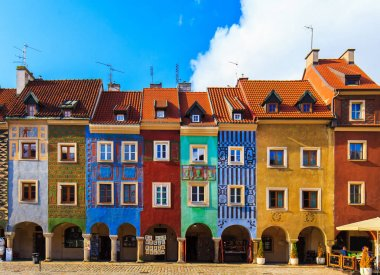 Colorful buildings located on a main square of Poznan City, Poland
