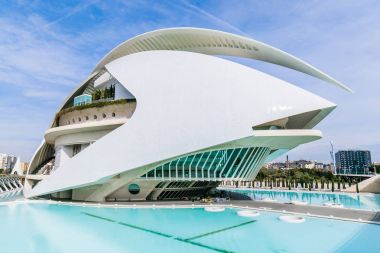 View to modern building of Palace of Arts, Valencia, Spain February 2017