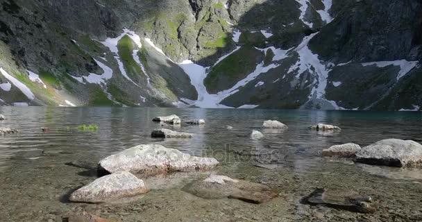 Křišťálově čistá voda a skály u Černého rybníka poblíž vrchol Rysy (nejvyšší v Polsku), Tatry