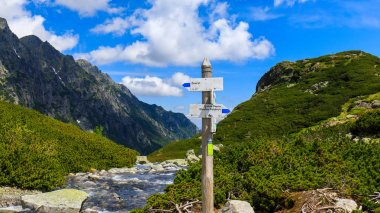Signpost in Tatra Mountains in summer, Poland, Europe