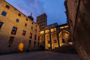 Historical Plaza del Rey in Barcelona at night