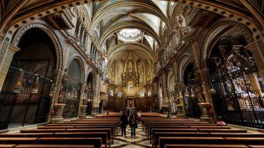 Interior of the mountain  Monastery of Montserrat, Spain - February 2017