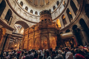 Piligrims at the Church of the Holy Sepulchre in Jerusalem, Israel - November 2017