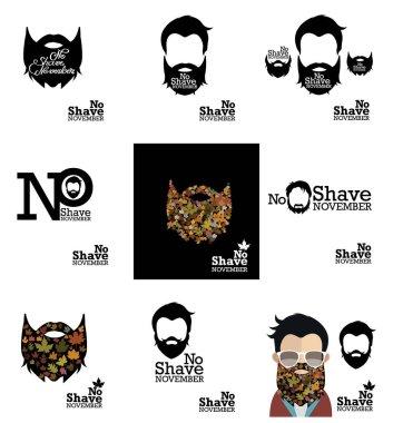 No shave november logo design set