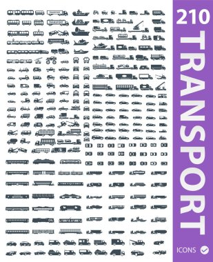 set of transport means icons
