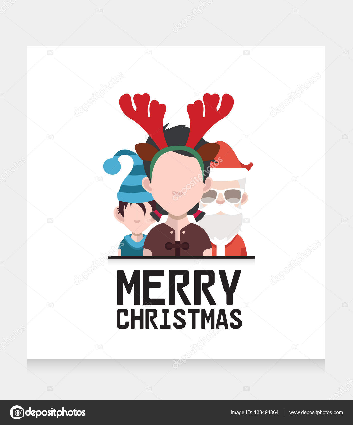 Greeting card with christmas characters stock vector sky designs greeting card with christmas characters stock vector kristyandbryce Gallery