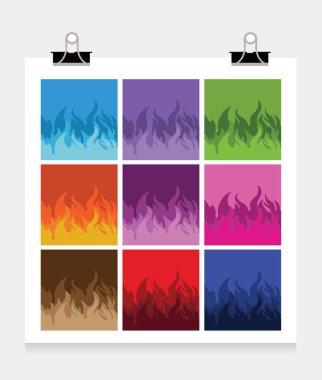 Set of colorful fire flames, vector illustration clip art vector