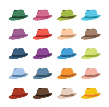 Set of different hats isolated on white background, vector illustration stock vector