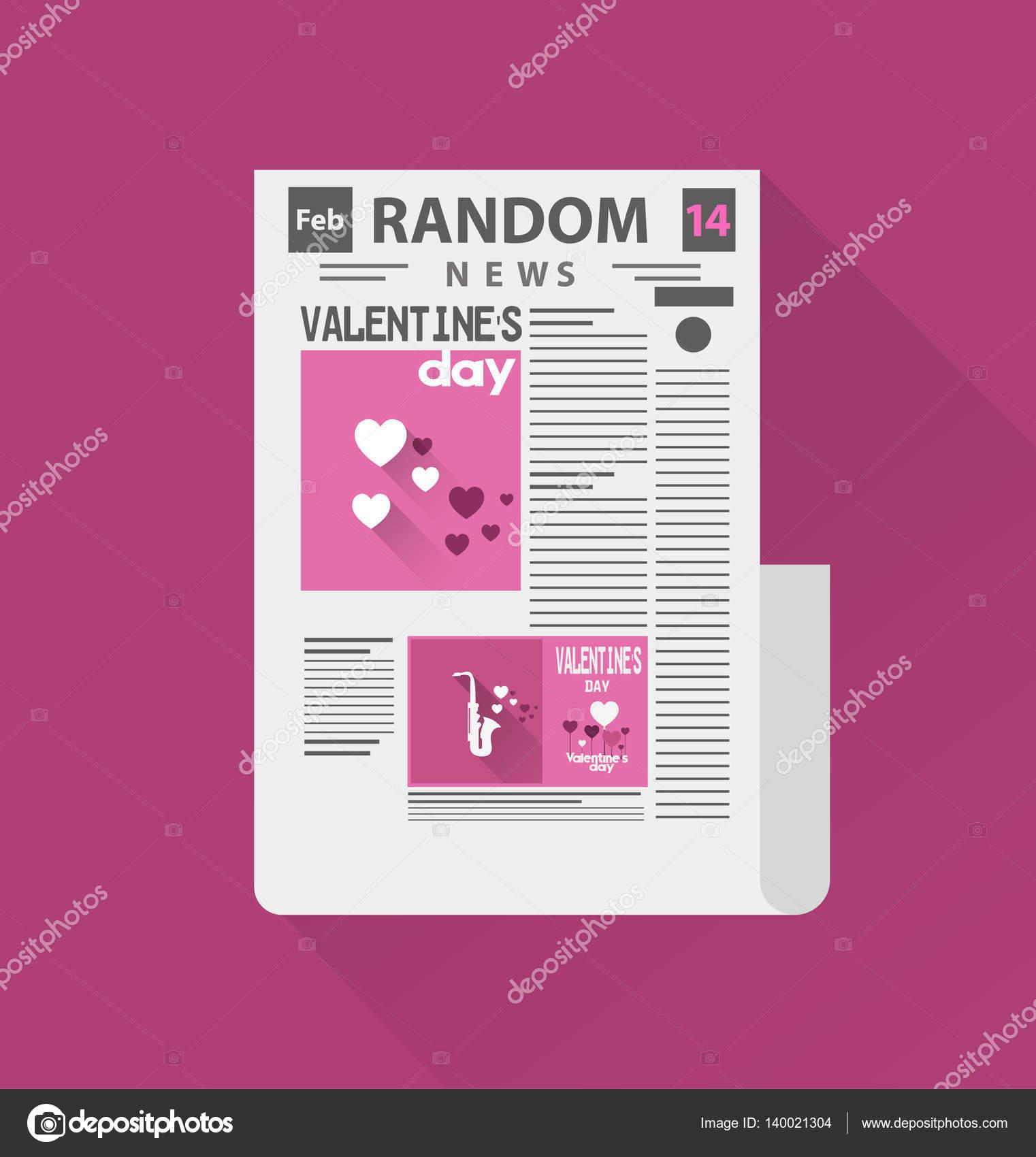 Plantilla de periódico del día de San Valentín — Archivo Imágenes ...