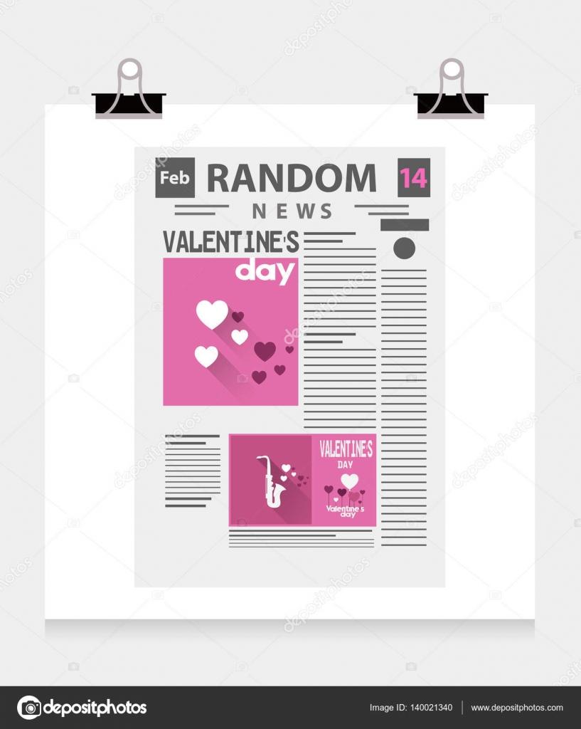 Plantilla de periódico del día de San Valentín — Vector de stock ...