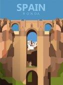 Photo flat cartoon Ronda city