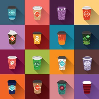 set of paper cups coffee